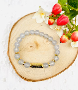 """Bracelet """"Wish, lucky"""" agate grise 8mm"""