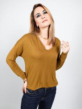 """T-shirt manches longues """"Gaby"""" écru ou ocre"""