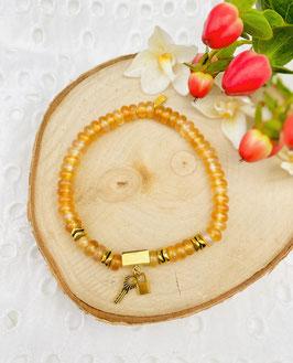 Bracelet cornaline cadenas et clé 4 mm
