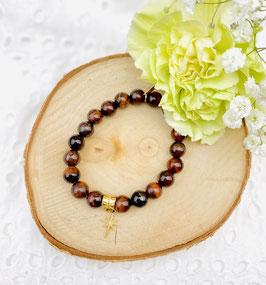 Bracelet étoile oeil du tigre rouge 8 mm