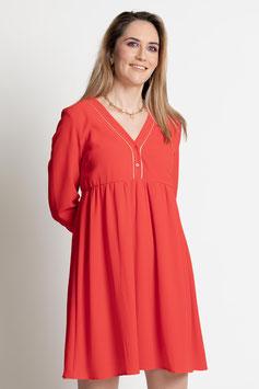 Robe rouge liserets dorés