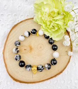 """Bracelet """"Skull"""" jaspe zebra 9 mm"""