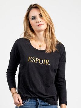 """T-shirt manches longues """"Espoir"""" noir"""