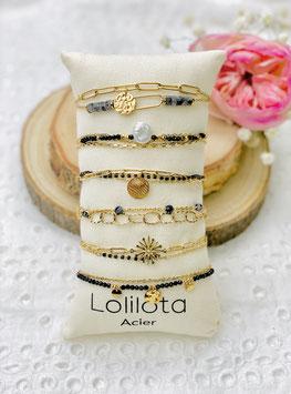 """Bracelets multirangs """"Yvone"""" noir"""