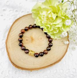Bracelet bouddha oeil du tigre rouge 8 mm