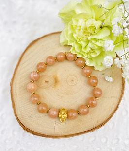 """Bracelet """"Skull"""" pierre de soleil 9 mm"""