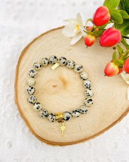 Bracelet étoile jaspe dalmatien 8 mm
