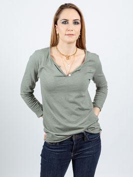 T-shirt manches longues col V kaki clair