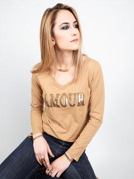 """T-shirt manches longues """"Amour"""" camel, blanc ou noir"""