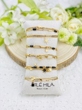 """Bracelets 2 et 3 rangs """"Susane"""" pierres onyx"""