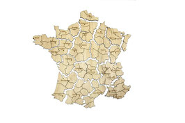 Puzzle carte de France en peuplier