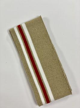 Bündchen Streifen beige Glitzer weiß rot