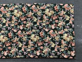 Stoffpaket Viskose schwarz Blumen