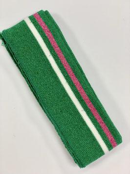 Bündchen Streifen grün Glitzer weiß pink