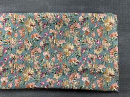 Stoffpaket Viskose hellblau Blumen