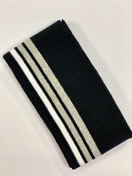 Bündchen Streifen schwarz grau weiß