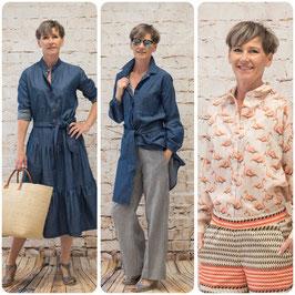 Schnittmusterpaket 'Bluse, Hemdbluse & Kleid mit Stufenrock'