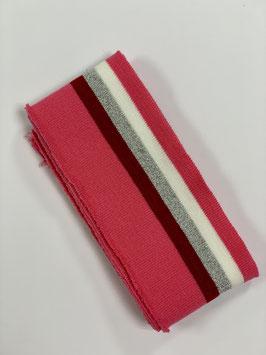 Bündchen Streifen Pink rot silber