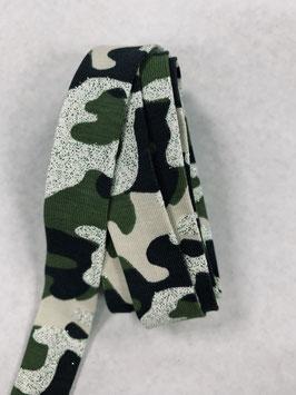 Schrägband elastisch Camouflage grün