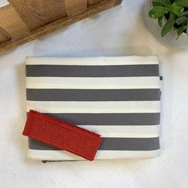 "Nähpaket Shirt ""Streifen grau-weiß-rot"""