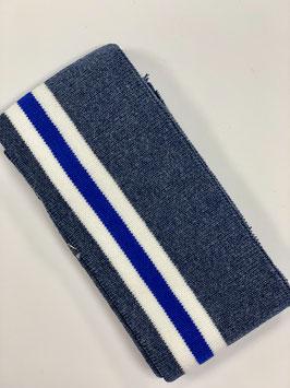 Bündchen Streifen graublau weiß blau