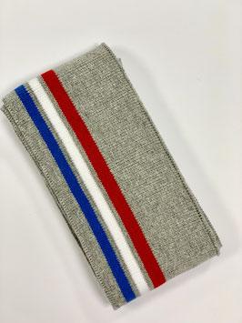 Bündchen Streifen grau rot weiß blau