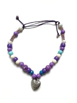 BEADS HUNDEKETTE - purple heart