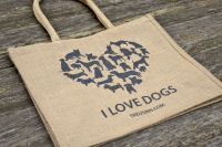 Shopper JUTE I LOVE DOGS- mit Reißverschluss-Innenfach