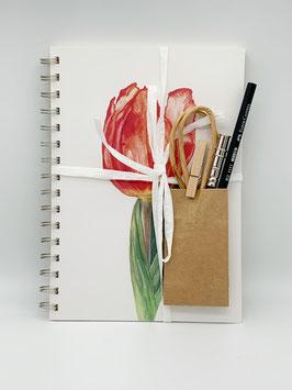 Geschenkset Ringbuch Tulpe DinA5 (handgebunden) mit Stiftverlängerer und Künstlerbleistift