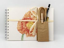 Geschenkset Ringbuch Papaver orange DinA5 (handgebunden) mit Stiftverlängerer und Künstlerbleistift