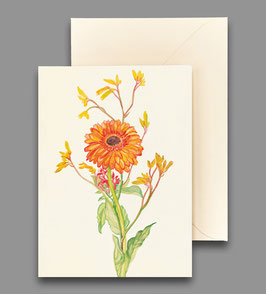 Grußkarte Gerbera orange Artikelnr. kl 257