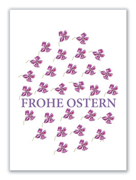 Osterkarte B6 Frohe Ostern, Clematismuster, Artikelnr. fo102