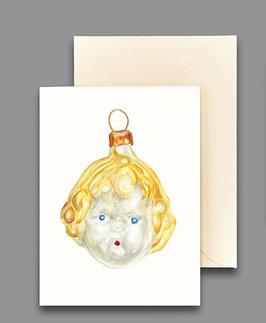 Weihnachtskarte Puppenkopf Artikelnr. kl405