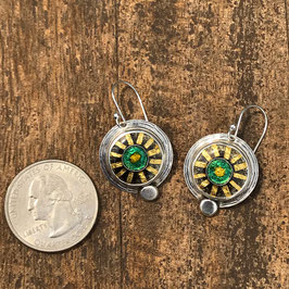 Cloisonne enamel green sunburst earrings
