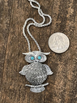 Silver owl necklace with Turquoise eyes
