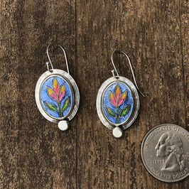 Cloisonne enamel tulip earrings