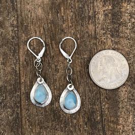 Small Larimar pear shaped drop earrings