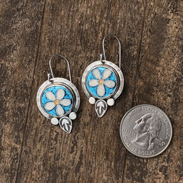 Cloisonne enamel daisy earrings