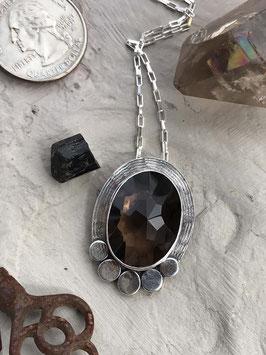 Smoky Quartz oval necklace