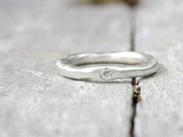 925 Silberring mit Diamant (organische Form aus 3mm starken Material)