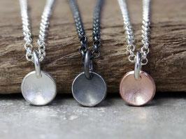 925 Silberkette mit runden gewölbten Anhänger