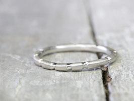 925 Silberring Stapelring mit polierten Streifen
