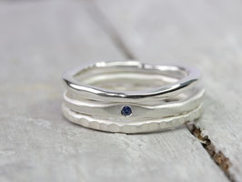 925 Silberring Set mit Saphir, Strukturring und glänzenden Ring