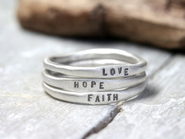 Ringset No. 5: Faith Love Hope aus 925 Silber, dreiteilig