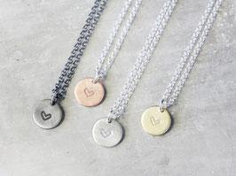 925 Silberkette mit runden Herz Anhänger