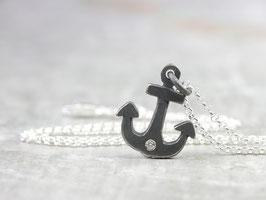 925 Silberkette mit Anker und Diamant