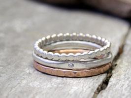 Ringset No. 5: Romantic mit Diamant aus 925 Silber und 333 Rotgold