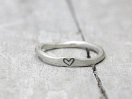 925 Silberring Stapelring mit Herzchen