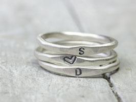 925 Silberringe Set Du und Ich, 3 Ringe mit Gravur