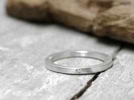 Stapelring No. 20 aus 925 Silber mit Diamant, gerade Form